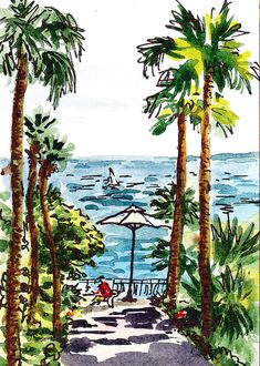 Italy Painting - Sketching Italy Palm Trees Of Sorrento by Irina Sztukowski Palm Tree Sketch, Palm Tree Drawing, Palm Tree Art, Tree Sketches, Palm Trees, Watercolor Trees, Watercolor Sketch, Watercolor Landscape, Watercolor Paintings