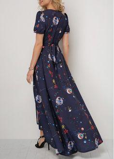 Asymmetric Hem Tie Back Printed Maxi Dress | Rotita.com - USD $38.47