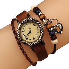 Frauen Vintage Style Bronze-Herz-Anhänger braunes Lederband Quarz-Armbanduhr – EUR € 9.19