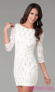 Buy Short Three Quarter Sleeved Lace Dress at PromGirl