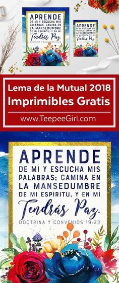 Free Mutual 2018 Young Women Printables in Spanish! Lema de la mutual 2018 Imprimibles Gratis! Get these free Young Women Printables at www.TeepeeGirl.com!