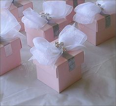 Pink Baptism or Communion Favor Box inspiration