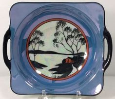 House-On-Lake-Silhouette-Handled-Bowl-Noritake-China-1920s-Blue-Luster-Black