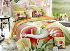 Fresh Yellow Calla #Lily Print 4-Piece Duvet Cover Sets