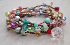 Boho bracelet, colorful beads and gemstones strung on leather or waxed linen