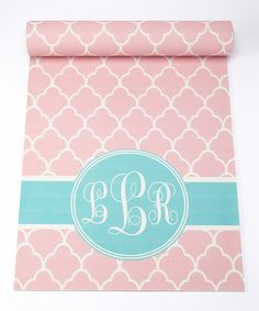 Look at this Pink & Aqua Trellis Monogram Yoga Mat on #zulily today!