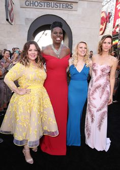 Melissa McCarthy, Leslie Jones, Kate McKinnon & Kristen Wiig from Movie Premieres: Red Carpets and Parties!  Who ya gonna call? The funny ladies premiere their reboot of Ghostbusters in Hollywood.
