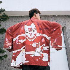 Kimono Hombre Kitsune Mens Kimono Jacket, Gilet Kimono, Cardigan Kimono, Men's Kimono, Style Streetwear, Japanese Streetwear, Traditional Japanese Clothing Male, Chiffon Material, Japanese Outfits
