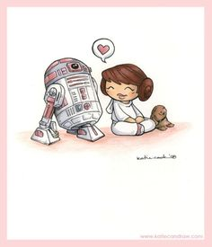 R2-KT and Leia by Katie cook @Katie Cook