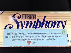 Music teacher gift; symphony candy bar note