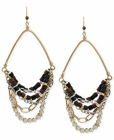 Kenneth Cole Gold-Tone Mixed Bead Multi Chain Chandelier Earrings
