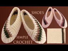Zapatos a crochet fáciles de tejer con solo un rectángulo tejido con ganchillo - YouTube Easy Crochet Slippers, Crochet Mittens Pattern, Crochet Socks, Booties Crochet, Felted Slippers, Crochet Stitches Patterns, Crochet Designs, Crochet Yarn, Crochet Leaves