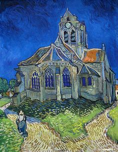Vincent Van Gogh, Eglise d'Auvers, 1890, Musée d'Orsay (Pairs)  la photo ne rends pas compte de la toile et de son bleu extraordinaire...