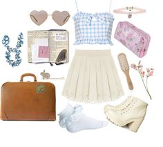 """#nymphet #lolita punkandsweetnymphet: """" may-daisies: """" Gonna take a road trip by pastelmuffin featuring a toiletry kit Topshop peplum shirt / High waisted pleated skirt / H&m boots, $50 / Necklace, $0.25 / Maison..."""