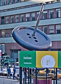 The Big Button. NYC Garment District sculpture.