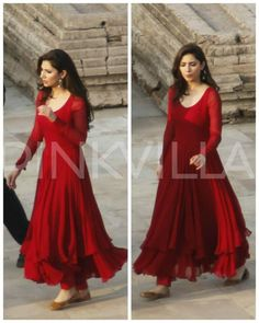 Anarkali dress - Check Out The Stunning First Look of Mahira in SRK's Raees! Indian Gowns Dresses, Pakistani Dresses, Pakistani Clothing, Pakistani Suits, Designer Anarkali Dresses, Designer Dresses, Indian Attire, Indian Outfits, Emo Outfits