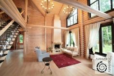 round wood house interior