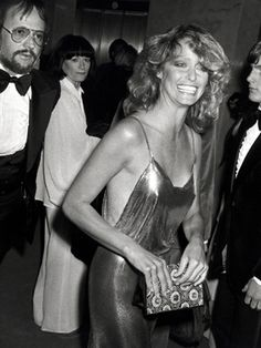 "Late-1970s ""disco chic"" was captured in the chain-mail slipdress Farrah Fawcett wore to the 1978 Academy Awards."