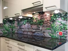 Glass kitchen back wall with digital print - Kitchens Remodel Ideas Funky Kitchen, Diy Kitchen, Kitchen Decor, Kitchen Ideas, Modern Kitchen Interiors, Splashback, Glass Kitchen, Kitchen Chairs, Küchen Design