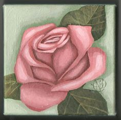 Acrylic Painting  Rose 5 X 5 Square on Canvas by acolburn4190, $75.00
