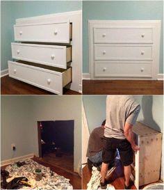 For an unused fireplace Bedroom With Bath, Master Bedroom Design, Built In Dresser, Built In Buffet, Bedroom Designs