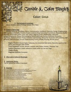 Candle Magick - Gold Candle - The Witch of Blackbird Pond