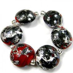 Red Glass Beads Handmade Lampwork Beads Black and Silver Matrix SRA   Covergirlbeads - Jewelry on ArtFire