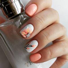 Summer Nails Peach Nails - New Ideas Peach Colored Nails, Peach Nails, Peach Nail Art, Pedicure Nail Art, Pedicure Ideas, Perfect Nails, Gorgeous Nails, Spring Nails, Summer Nails