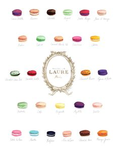 Macaron Flavors Laduree Menu Chart Watercolor Painting - Digital Print 8 x 10 Laure via Etsy
