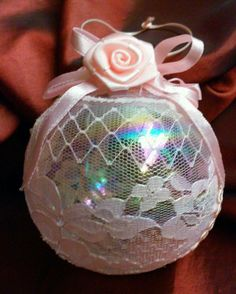 Romantic Shabby Cottage Chic Glass Christmas Ornament Lace Pink Flowers Ribbon