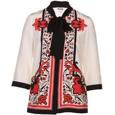 Alice By Temperley Women's Nijinsky Print Red Mix Silk Blouse ($490) ❤ liked on Polyvore