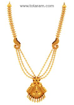 Gold 'Peacock' Long Necklace (Temple Jewellery) - - Indian Jewelry from Totaram Jewelers Pearl Jewelry, Indian Jewelry, Temple Jewellery, Gold Jewellery, Gold Jewelry Simple, Gold Bangles, Gold Pendant, Gold Haram, Jewelry Design
