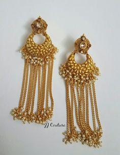 Designer Gold Polki Ohrringe Bollywood Schmuck von JJCOUTUREJEWELS