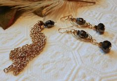 One of a Kind Gold Vermeil Gunmetal and Gray Crystal by bijoullery