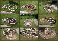 Der Bau unserer Kräuterspirale – Bilder und Fotos The construction of our herbal spiral – pictures and photos Herb Spiral, Spiral Garden, Herb Garden, Back Gardens, Outdoor Gardens, Rustic Outdoor Furniture, Diy Planters, Plantation, Edible Garden