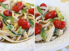 Zucchini Ribbon Pasta with grape tomatoes in a basil and cream sauce!