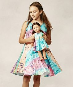 Pink & Blue Tie-Dye A-Line Dress & Doll Outfit