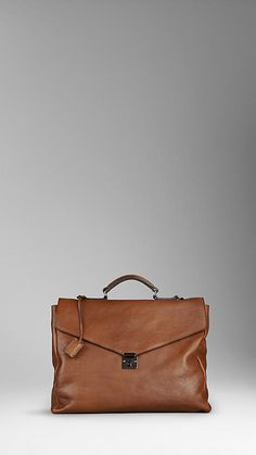 Burberry Push-Button Leather Briefcase