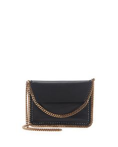 Falabella Mini Flap Crossbody Bag, Black by Stella McCartney at Neiman Marcus.