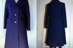Madeline's coat! Vintage Handmade Wool Gabardine 1960s Navy Coat by IveGoneModVintage, $285.00