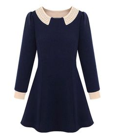 Peter Pan Collar Pearl Embellished Dress from Chicnova