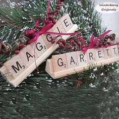 Personalized Scrabble Ornament with Tile Tray