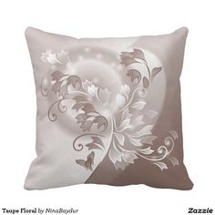 Taupe Floral Throw Pillows