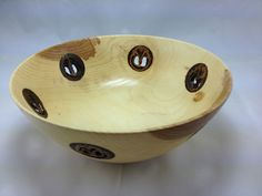 Hickory Bowl with  Inlaid Walnuts
