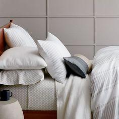 Belgian Flax Linen Ikat Stripe Duvet Cover + Shams | west elm Dream bedding