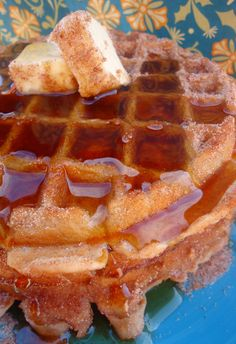 Churro waffles. For once I'm glad I *don't* have a waffle maker, because if I did we would eat these for every meal until it killed us.