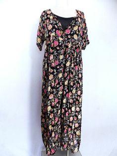Nostalgia Floral Dress Sz M Sheer Grunge Vintage 80s Romantic Maxi Full #Nostalgia #Maxi #SummerBeach