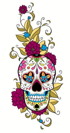 Published At 398 × 757 In Sugar Skulls- would like to paint my front table all black then this design without bottom half on it -- all the colors would pop