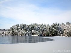 Winter view of Rocky Point from the Sandy Beach Waterfront at Camp #Yawgoog.  Image by David R. Brierley.
