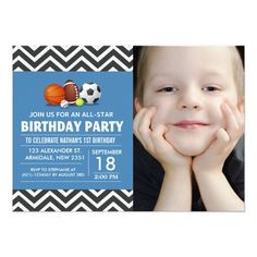 Custom an all-star sport birthday party photo 5x7 paper invitation card